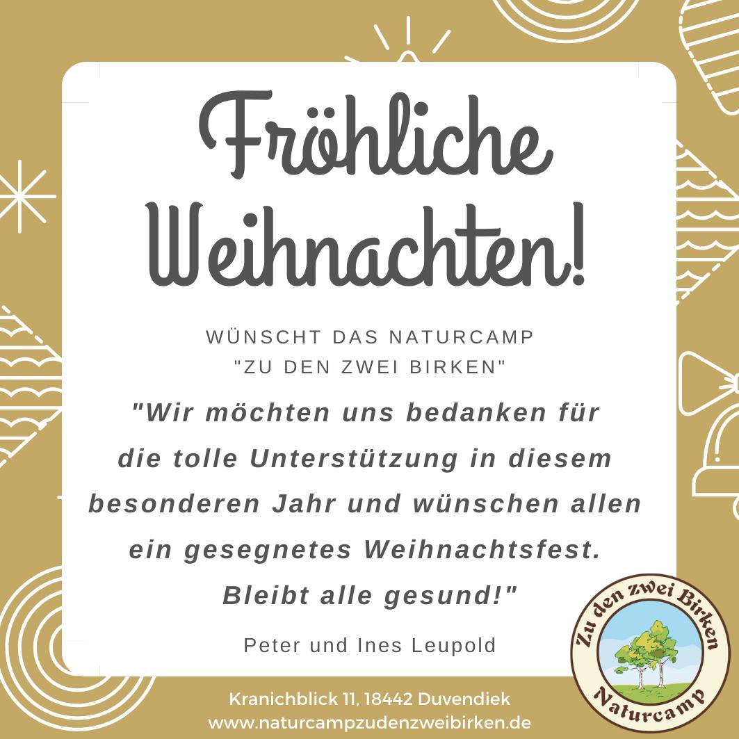 "Frohe Weihnachten wünscht das Naturcamp ""Zu den zwei Birken"""