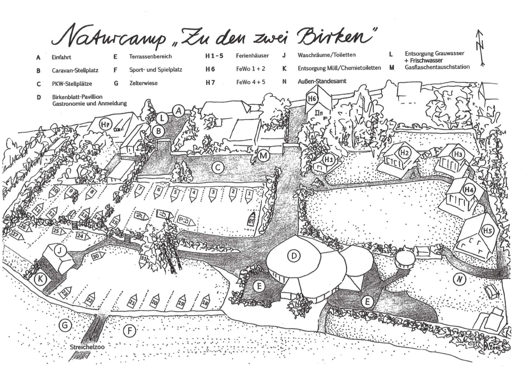 Lageplan Naturcamp zu den zwei Birken